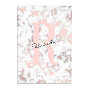 Monogrammed Rose Gold Marble Cotton Tea Towel