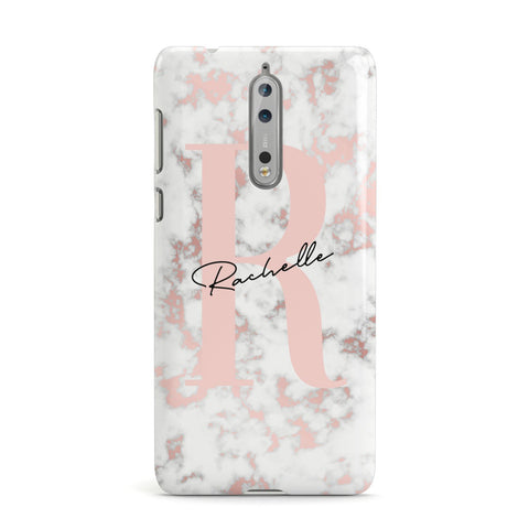 Monogrammed Rose Gold Marble Nokia Case