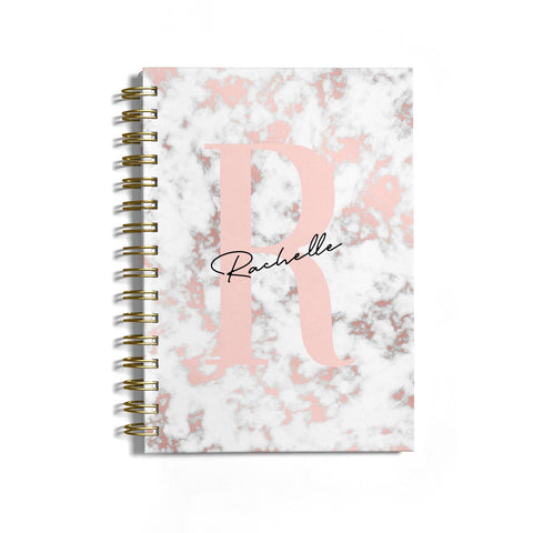 Monogrammed Rose Gold Marble Notebook