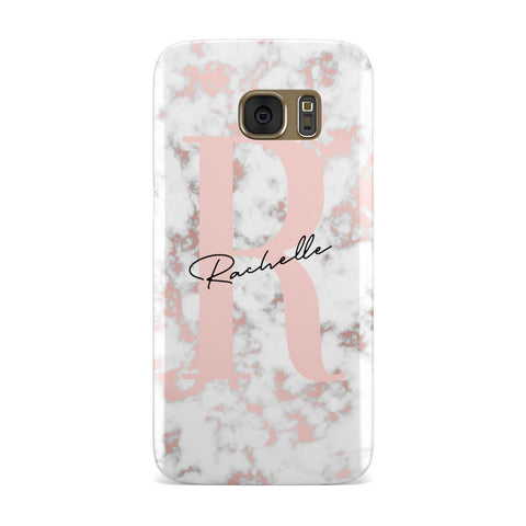 Monogrammed Rose Gold Marble Samsung Galaxy Case