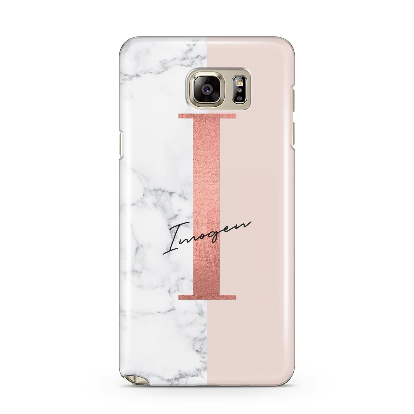 info for 5989d 3fe77 Monogrammed Rose Gold Marble Samsung Galaxy Case
