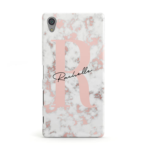 Monogrammed Rose Gold Marble Sony Case