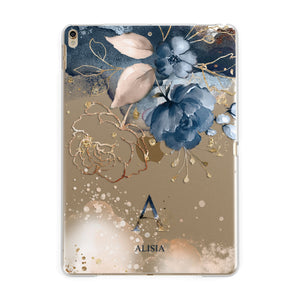 Monogrammed Watercolour Flower Elements Apple iPad Gold Case