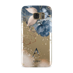 Monogrammed Watercolour Flower Elements Samsung Galaxy Case