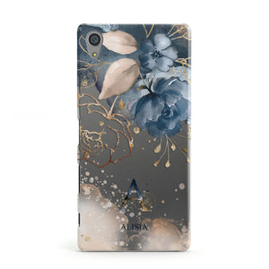 Monogrammed Watercolour Flower Elements Sony Xperia Case