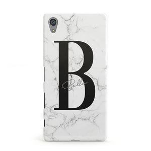 Monogrammed White Marble Sony Xperia Case