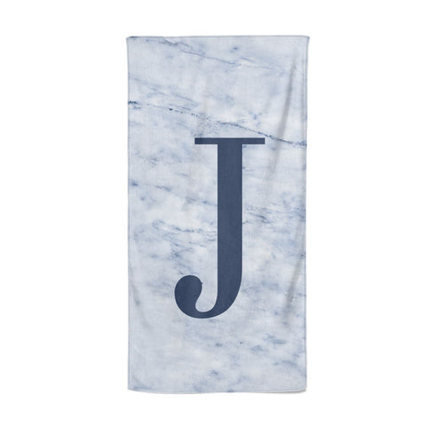 Navy Blue Single Initial Beach Towel