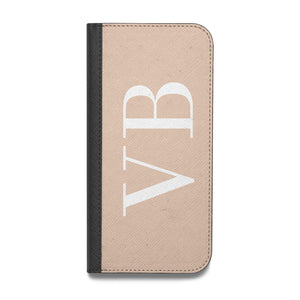Nude And White Personalised Vegan Leather Flip iPhone Case
