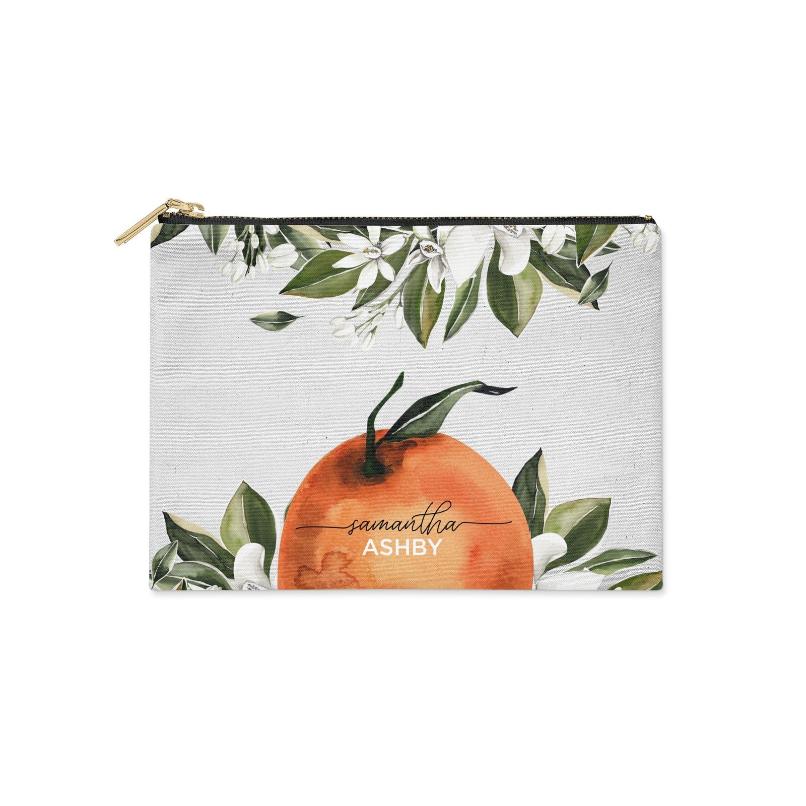 Orange Blossom Personalised Name Clutch Bag Zipper Pouch
