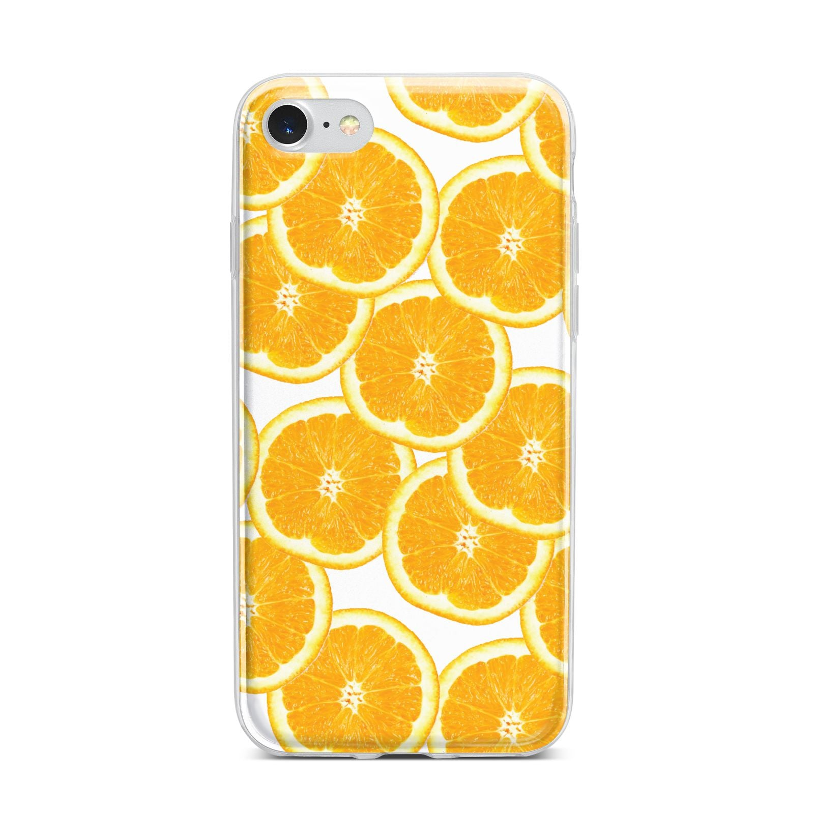 Orange Fruit Slices iPhone 7 Bumper Case on Silver iPhone