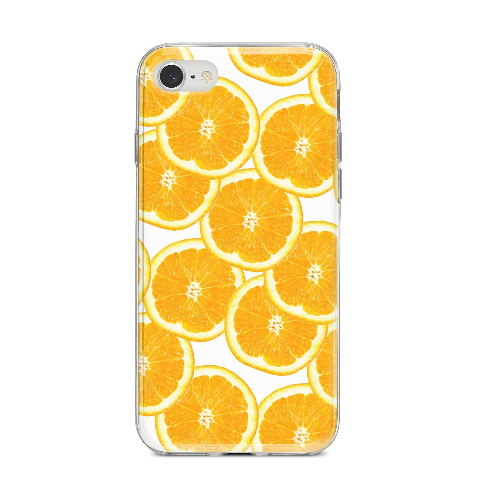 Orange Fruit Slices iPhone 8 Bumper Case on Silver iPhone