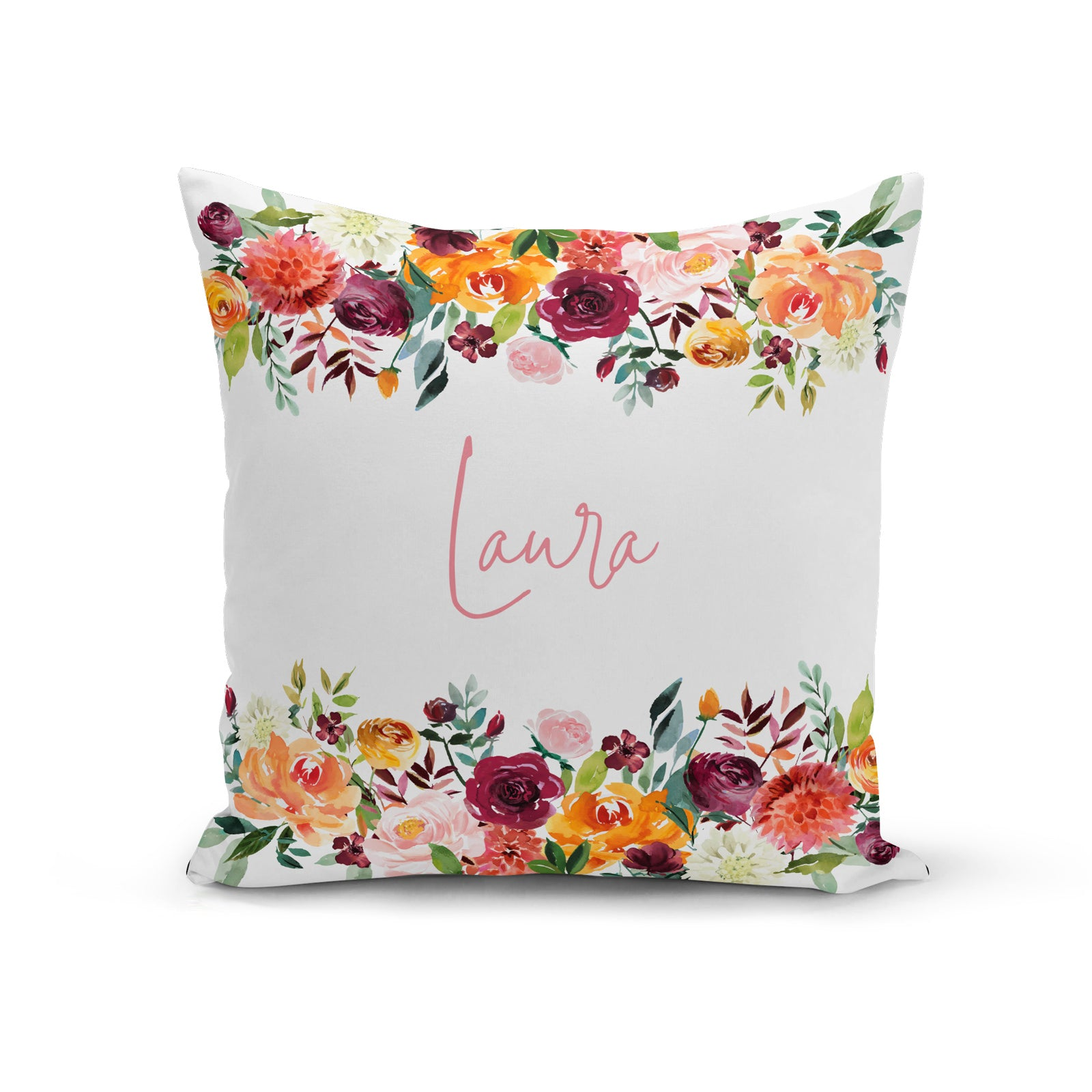 PERSONALISED NAME AND FLOWERS CUSHION