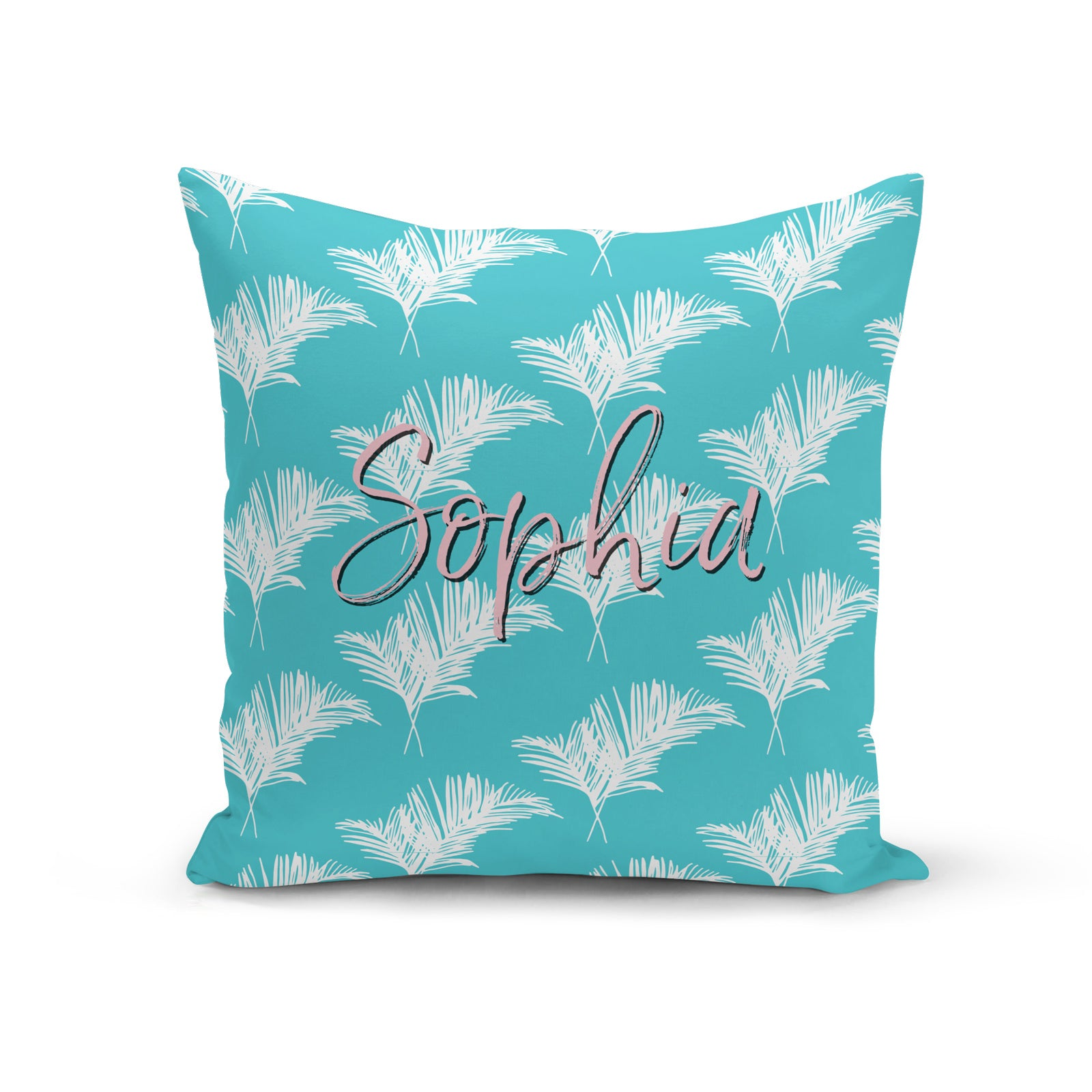 Personalised Vibrant Blue and White Leaf Cushion