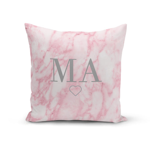 Personalised Pink Marble Monogram Cushion