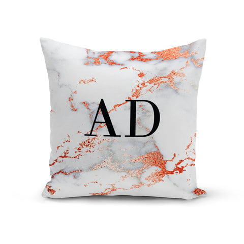 Personalised Rose Gold Marble Initials Cushion