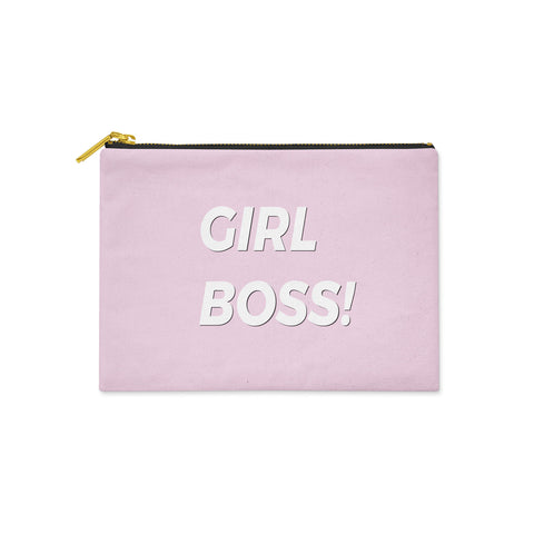 Pink Girl Boss Canvas Clutch Bag