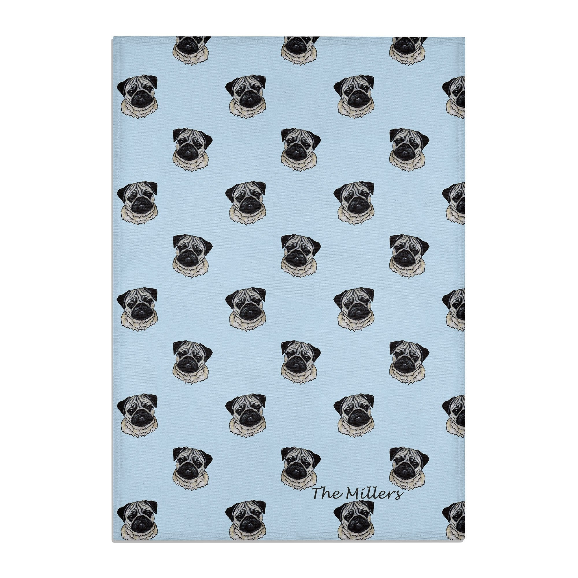 PUG TEA TOWEL PERSONALISED