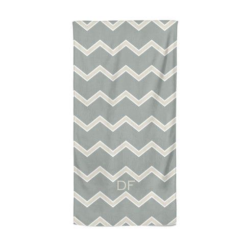 Personalised 2 Tone Chevron Beach Towel