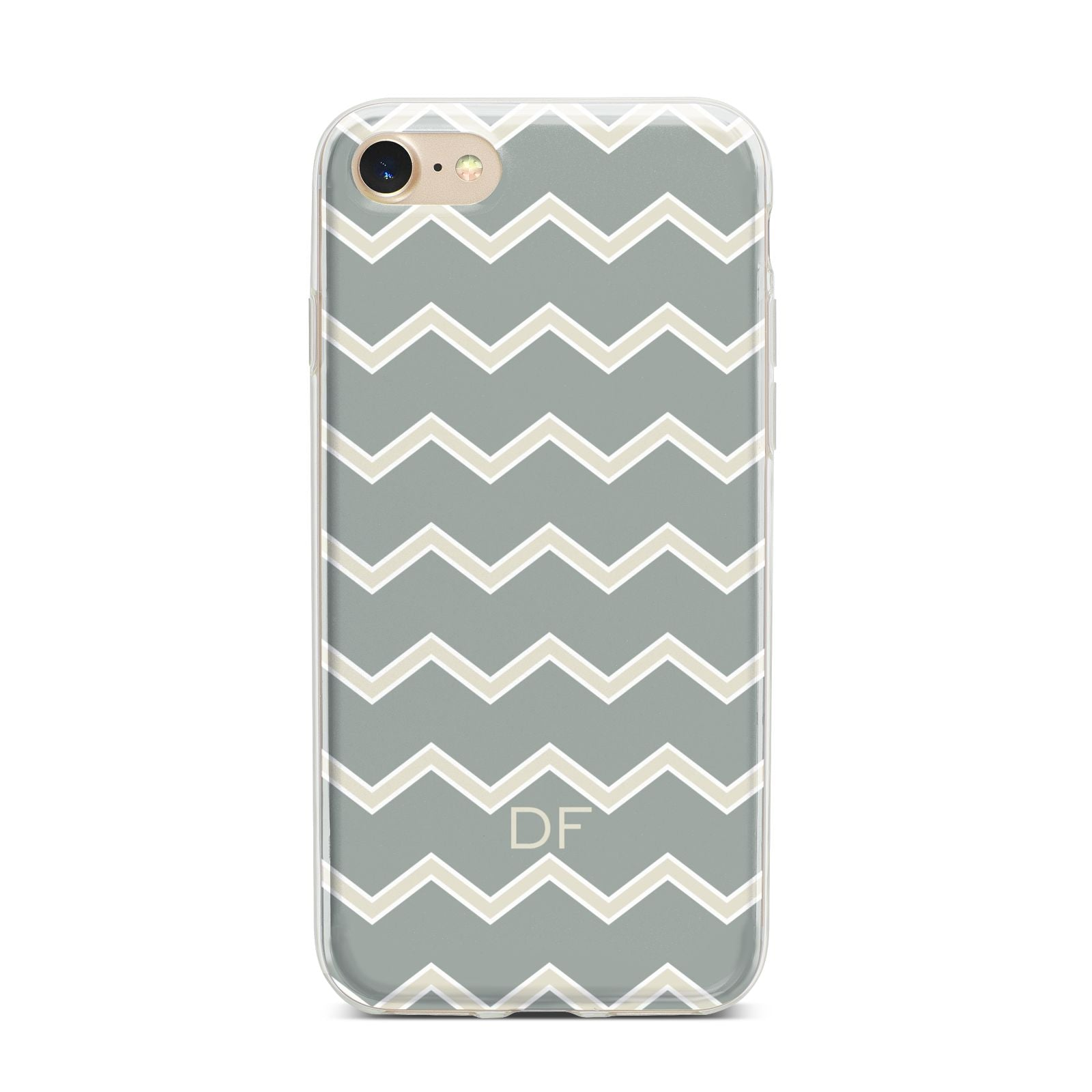 Personalised 2 Tone Chevron iPhone 7 Bumper Case on Gold iPhone