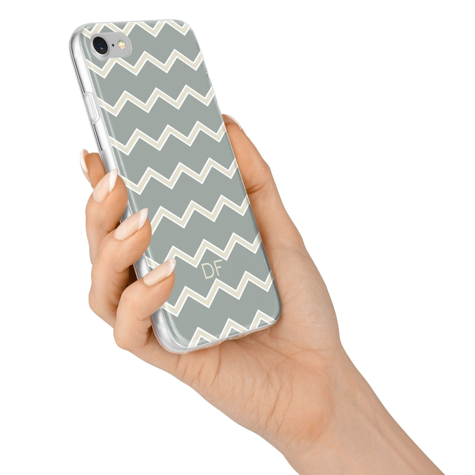 Personalised 2 Tone Chevron iPhone 7 Bumper Case on Silver iPhone Alternative Image