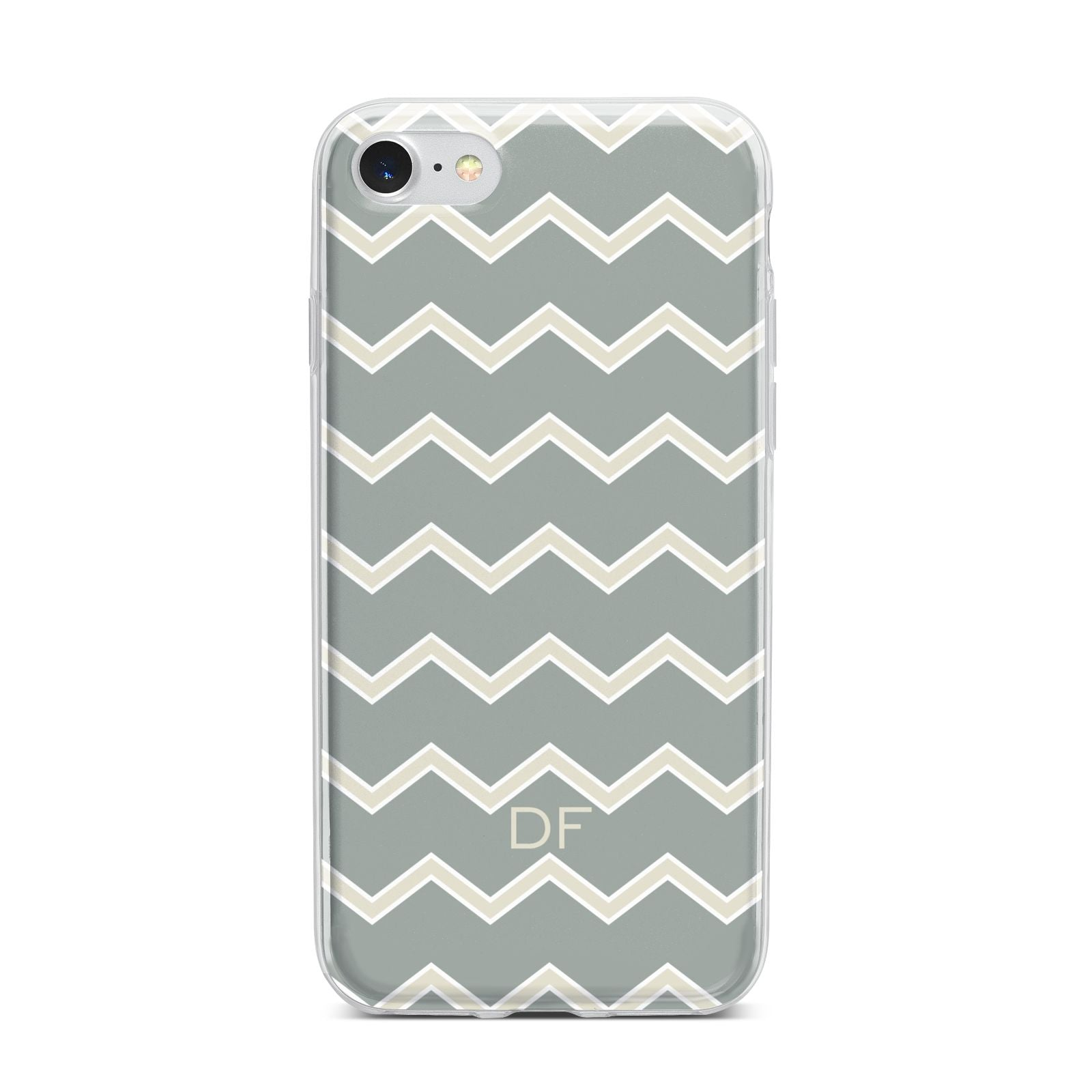 Personalised 2 Tone Chevron iPhone 7 Bumper Case on Silver iPhone