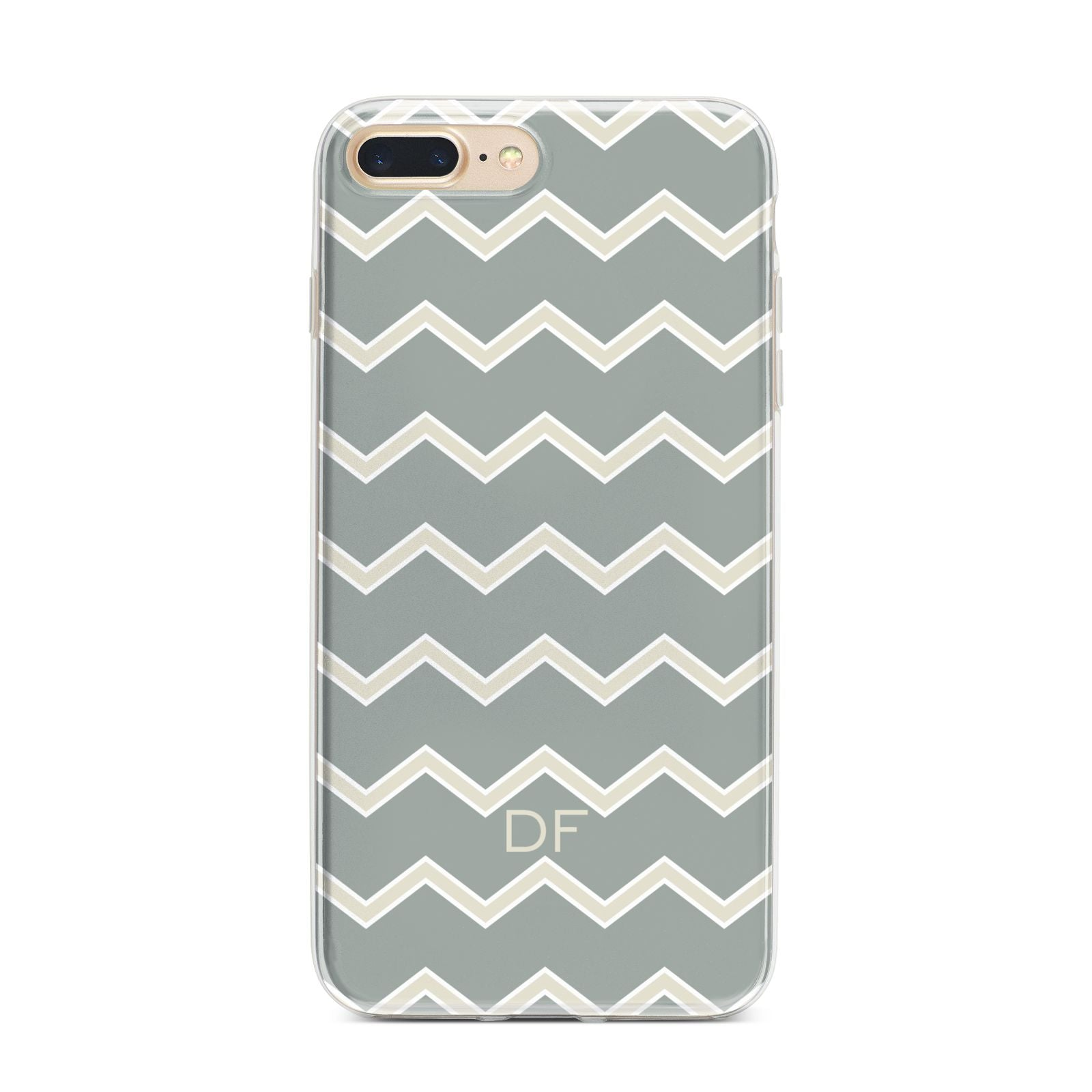 Personalised 2 Tone Chevron iPhone 7 Plus Bumper Case on Gold iPhone