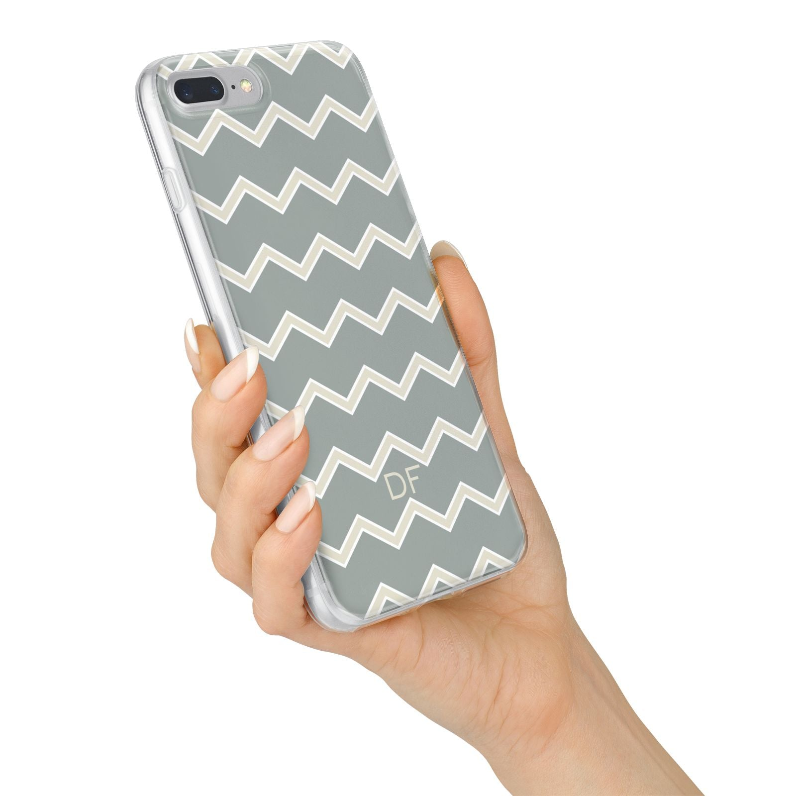 Personalised 2 Tone Chevron iPhone 7 Plus Bumper Case on Silver iPhone Alternative Image
