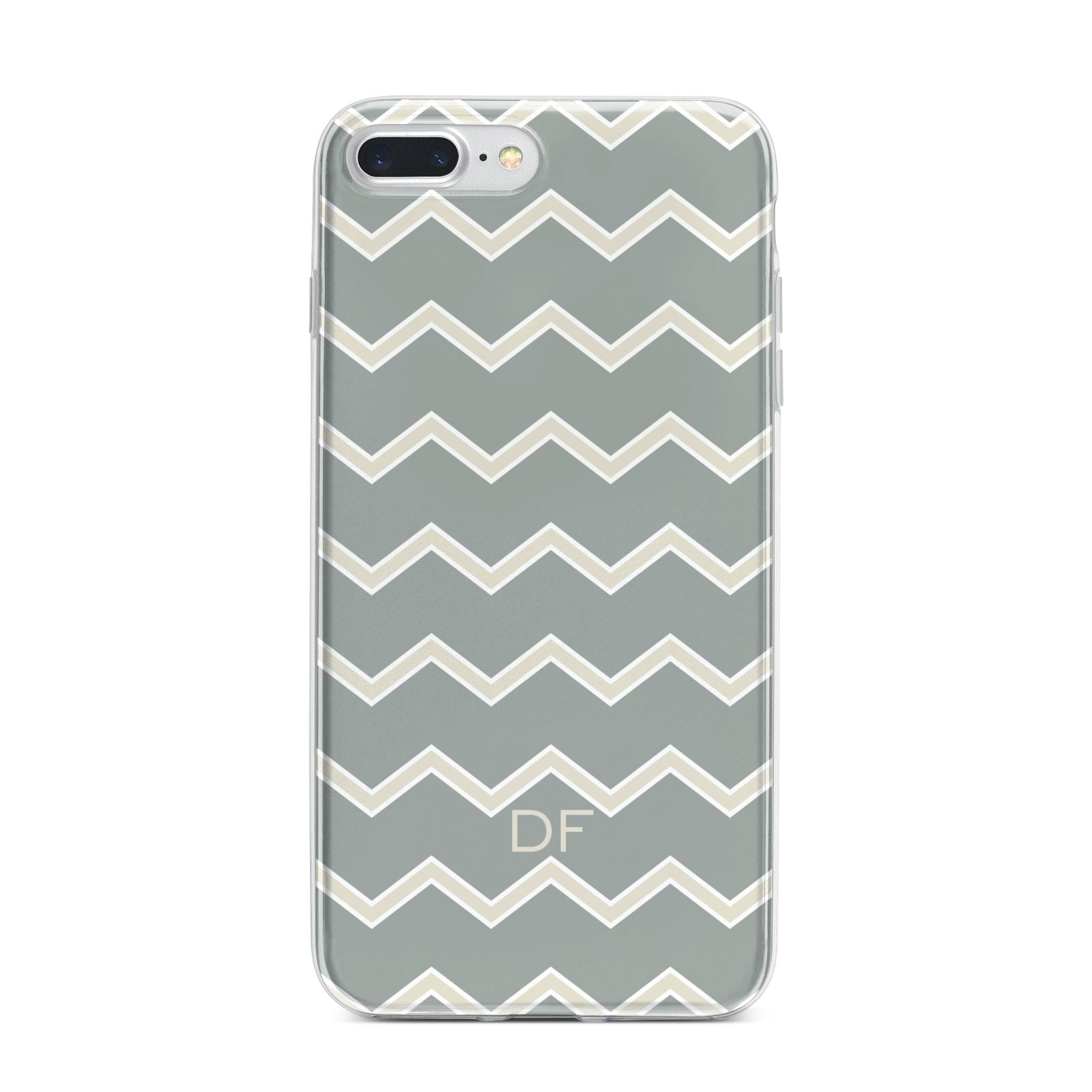 Personalised 2 Tone Chevron iPhone 7 Plus Bumper Case on Silver iPhone