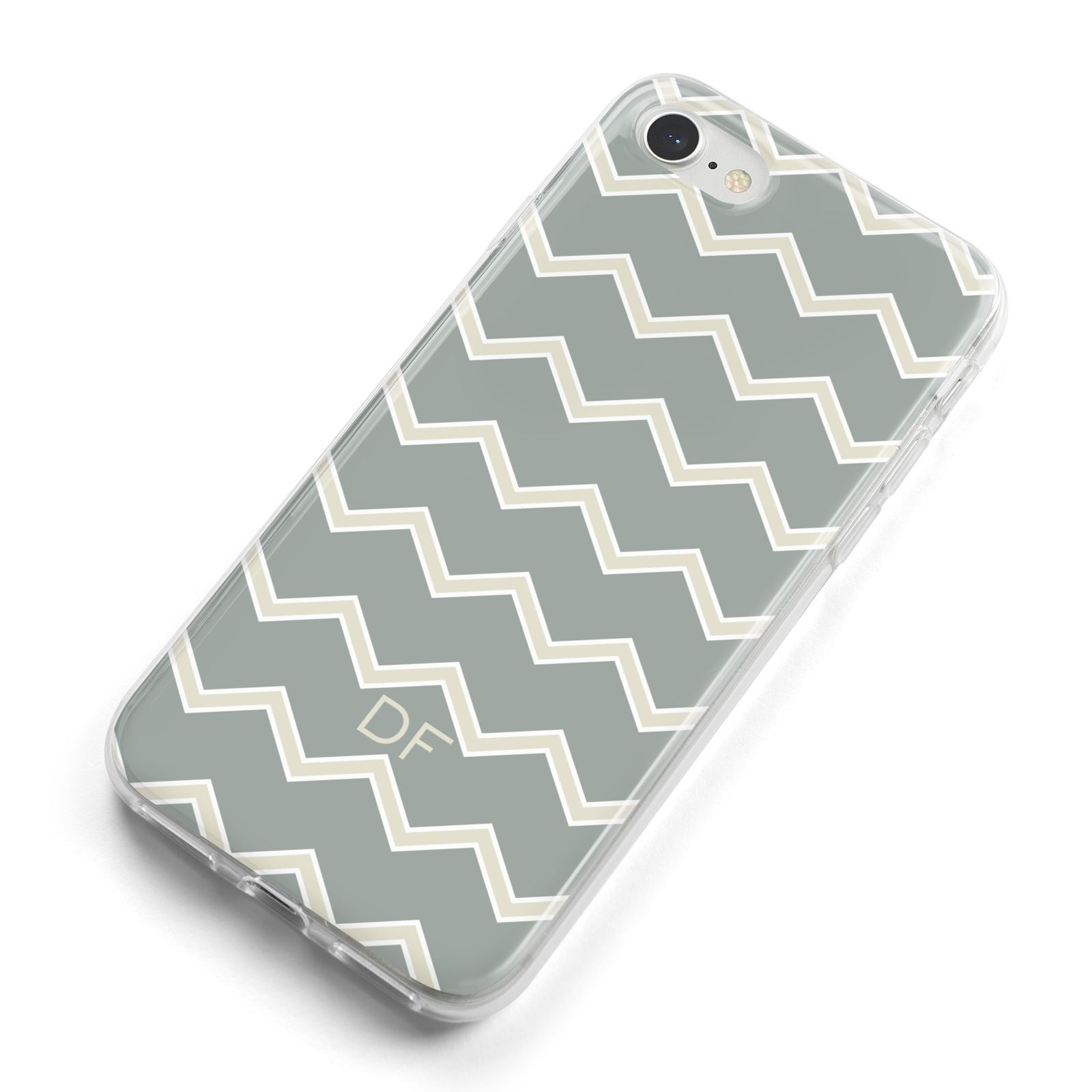 Personalised 2 Tone Chevron iPhone 8 Bumper Case on Silver iPhone Alternative Image