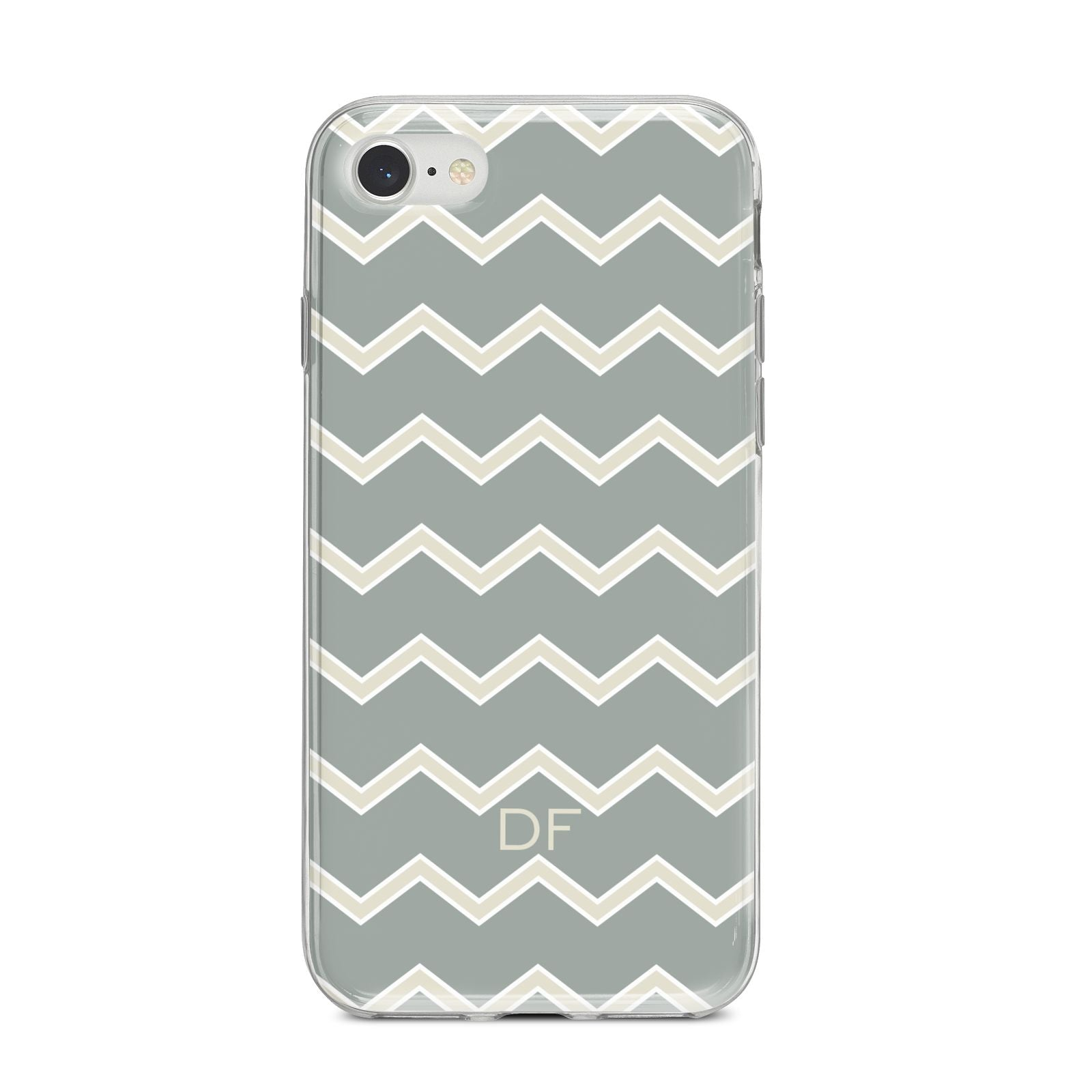 Personalised 2 Tone Chevron iPhone 8 Bumper Case on Silver iPhone