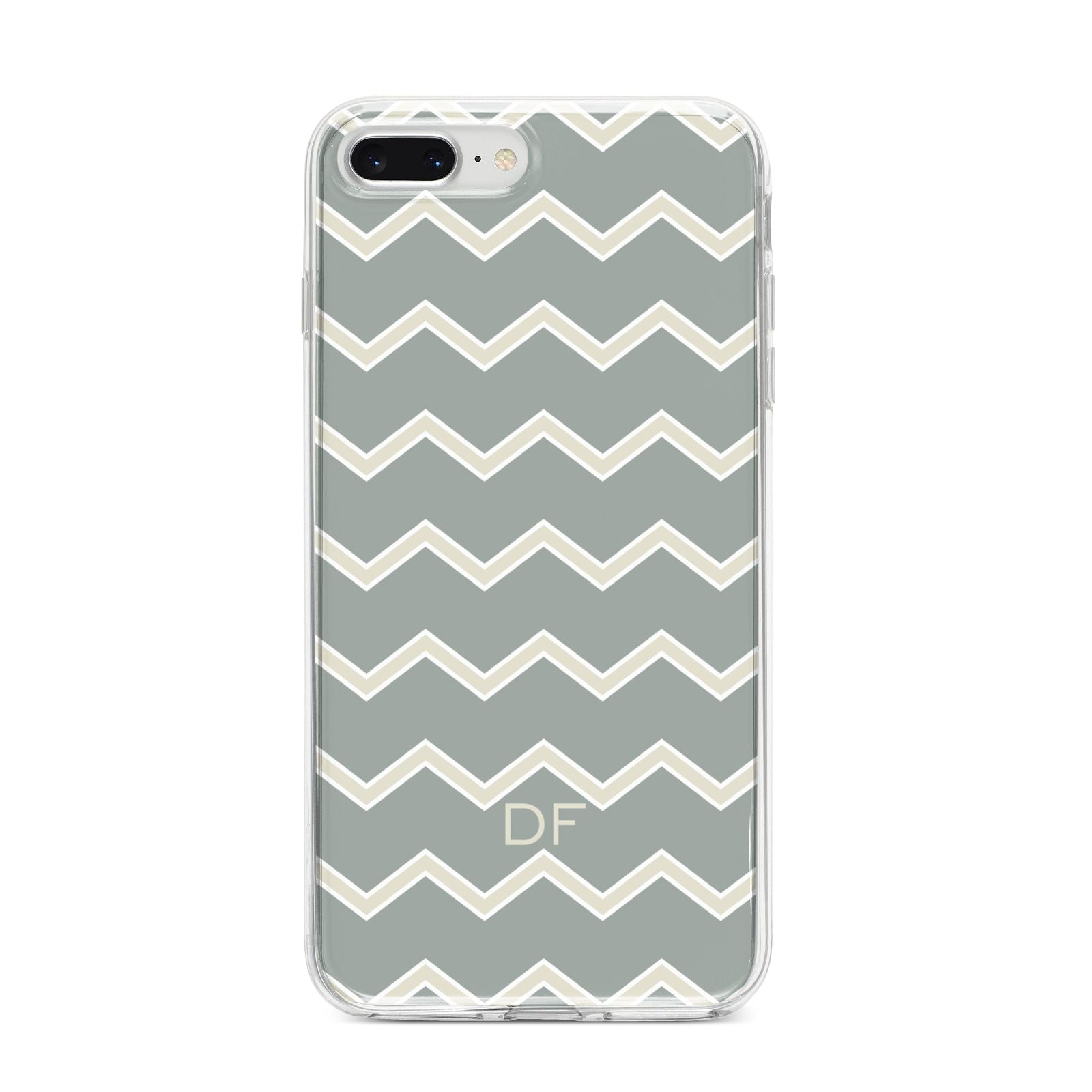 Personalised 2 Tone Chevron iPhone 8 Plus Bumper Case on Silver iPhone