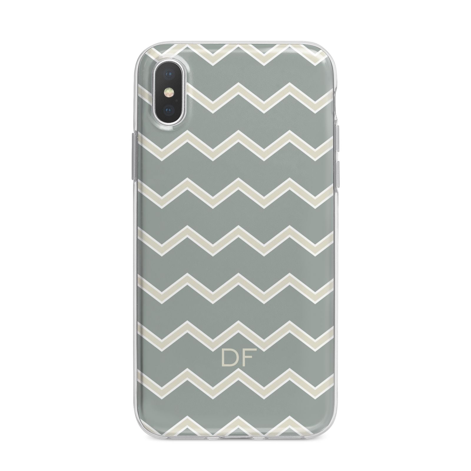 Personalised 2 Tone Chevron iPhone X Bumper Case on Silver iPhone Alternative Image 1