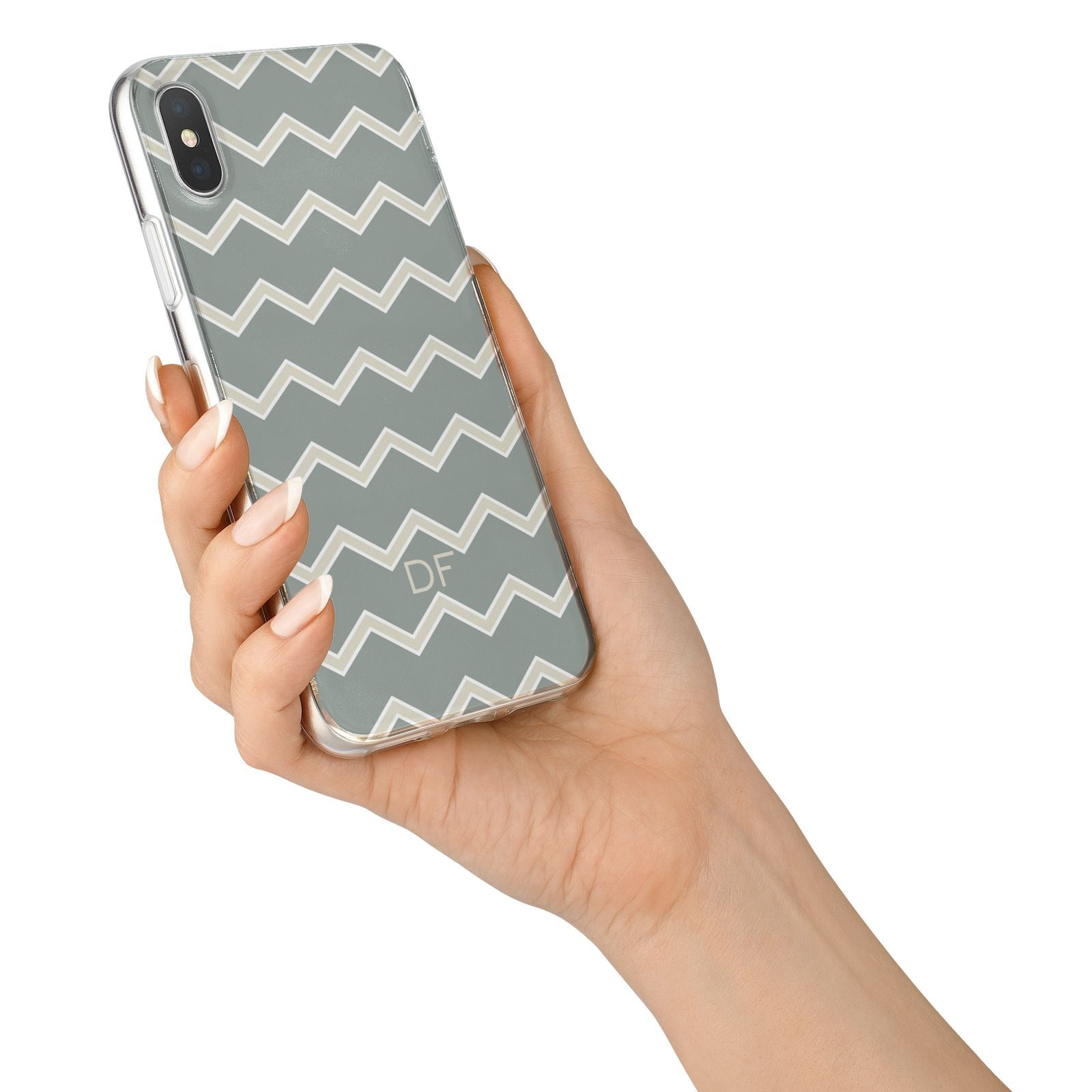 Personalised 2 Tone Chevron iPhone X Bumper Case on Silver iPhone Alternative Image 2