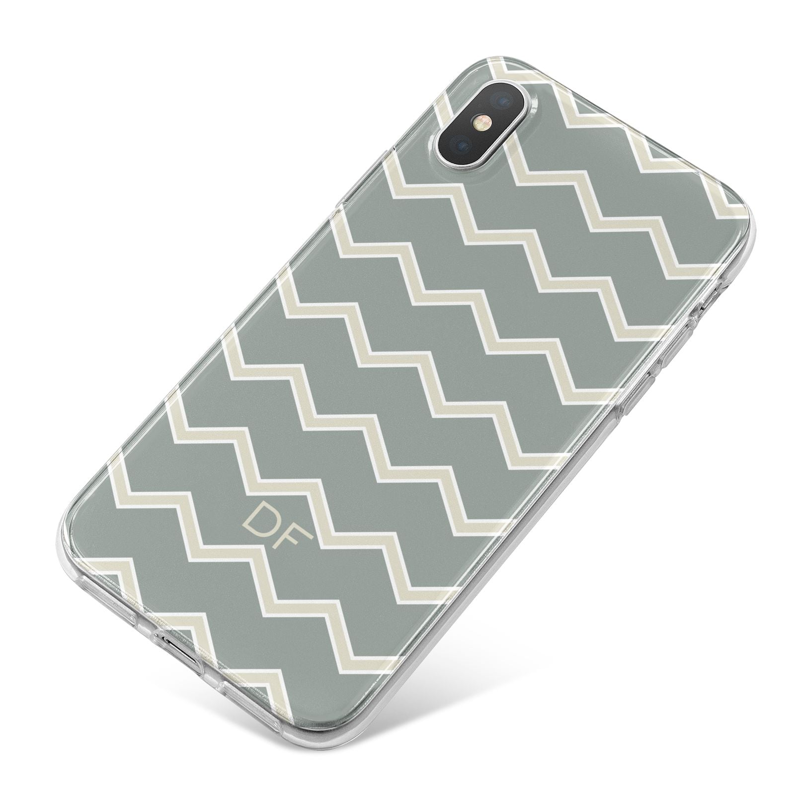 Personalised 2 Tone Chevron iPhone X Bumper Case on Silver iPhone