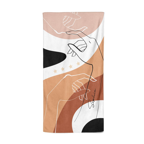 Personalised Abstract Gouache Line Art Beach Towel
