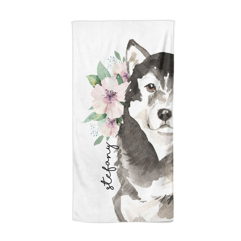 Personalised Alaskan Malamute Beach Towel