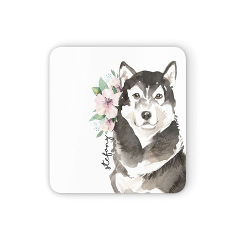 Personalised Alaskan Malamute Coasters set of 4