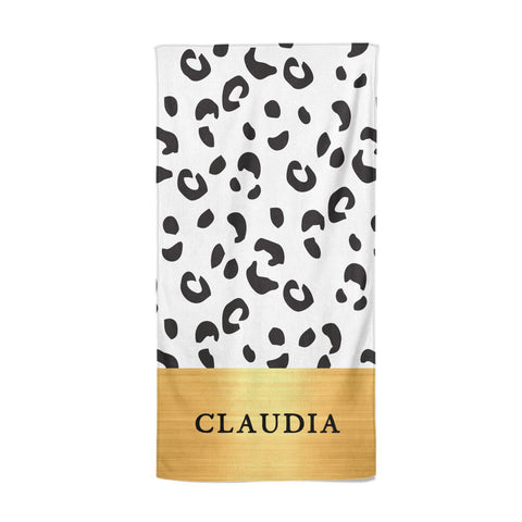 Personalised Animal Print & Gold With Name Beach Towel