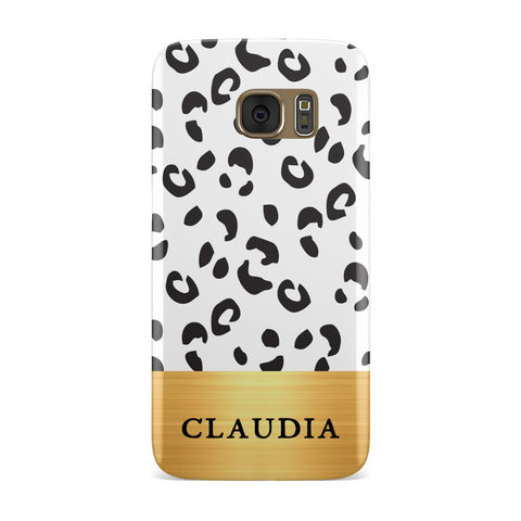 Personalised Animal Print & Gold With Name Samsung Galaxy Case
