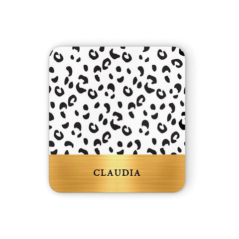 Personalised Animal Print & Gold With Name Coasters set of 4