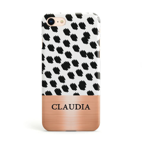 Personalised Animal Print & Rose Gold Name Apple iPhone Case