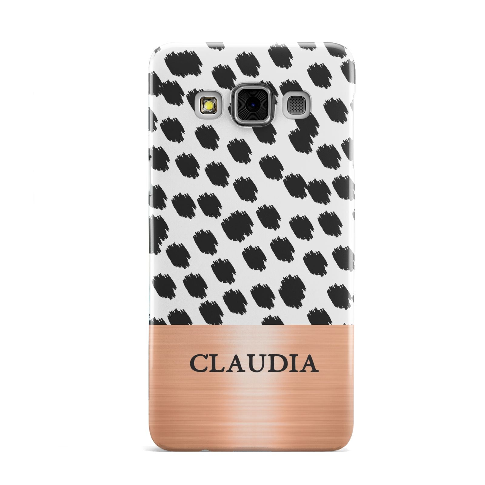 Personalised Animal Print Rose Gold Name Samsung Galaxy A3 Case