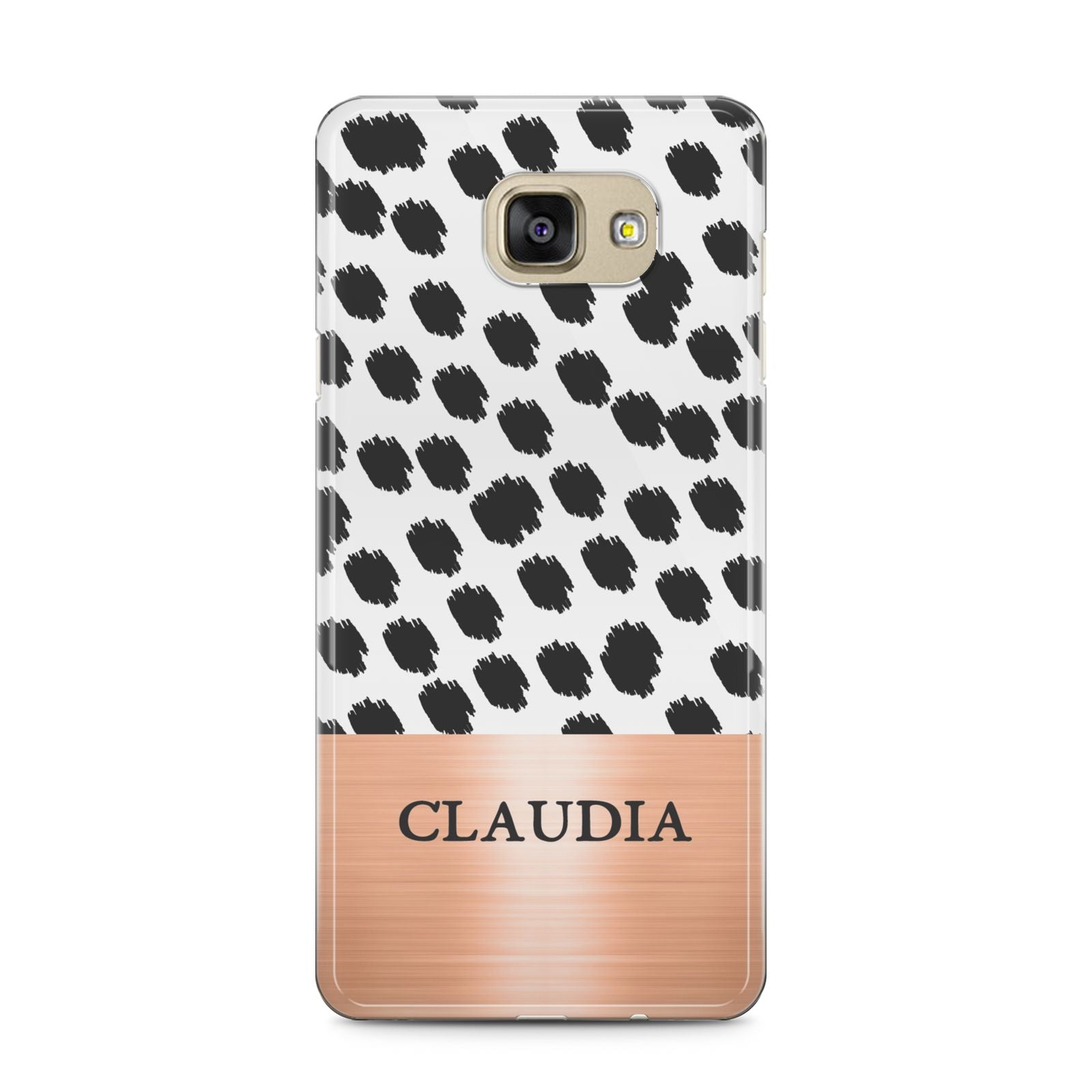 Personalised Animal Print Rose Gold Name Samsung Galaxy A5 2016 Case on gold phone