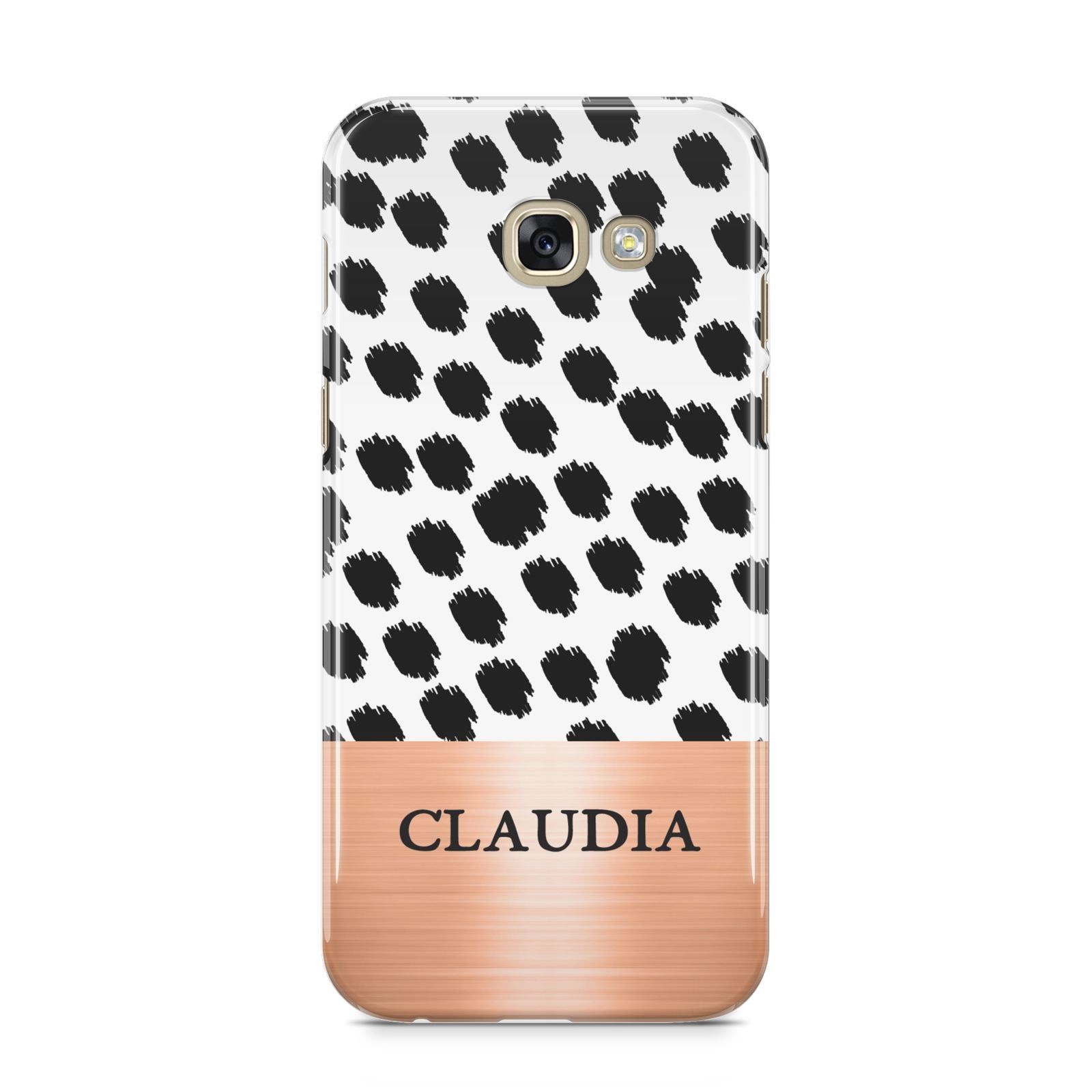 Personalised Animal Print Rose Gold Name Samsung Galaxy A5 2017 Case on gold phone