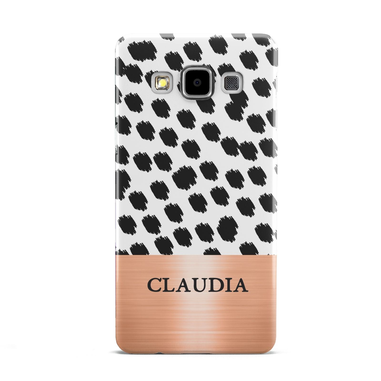 Personalised Animal Print Rose Gold Name Samsung Galaxy A5 Case
