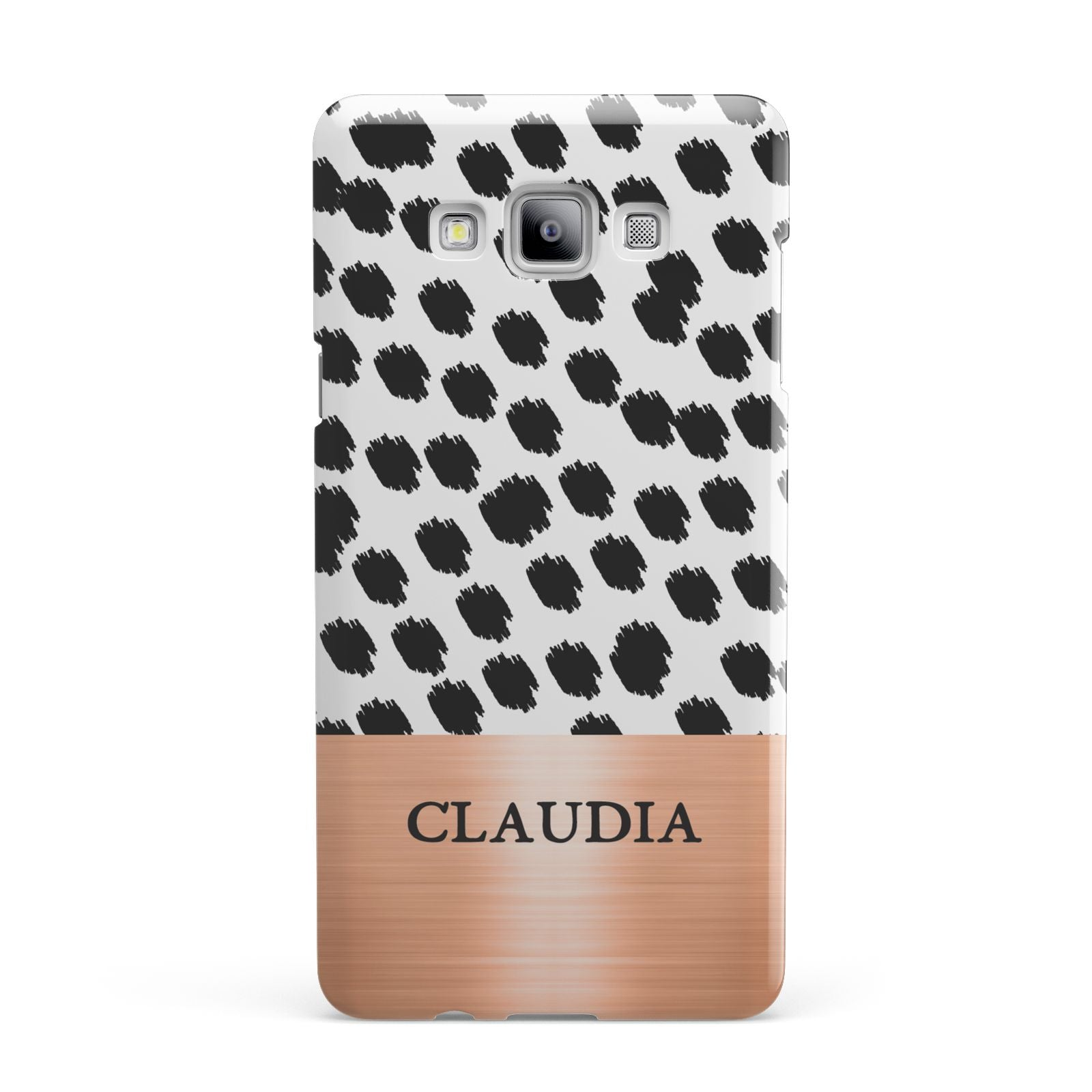 Personalised Animal Print Rose Gold Name Samsung Galaxy A7 2015 Case