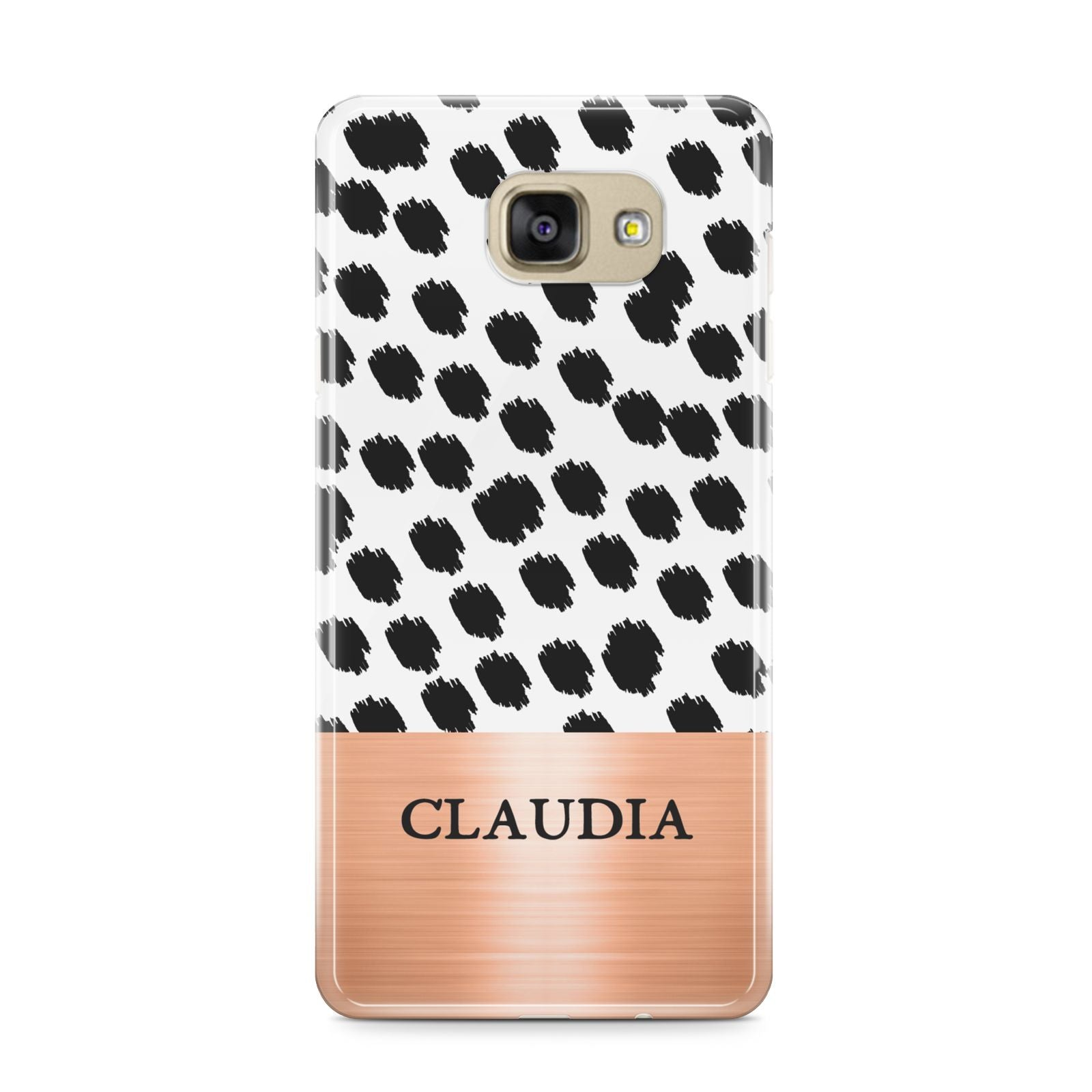 Personalised Animal Print Rose Gold Name Samsung Galaxy A9 2016 Case on gold phone