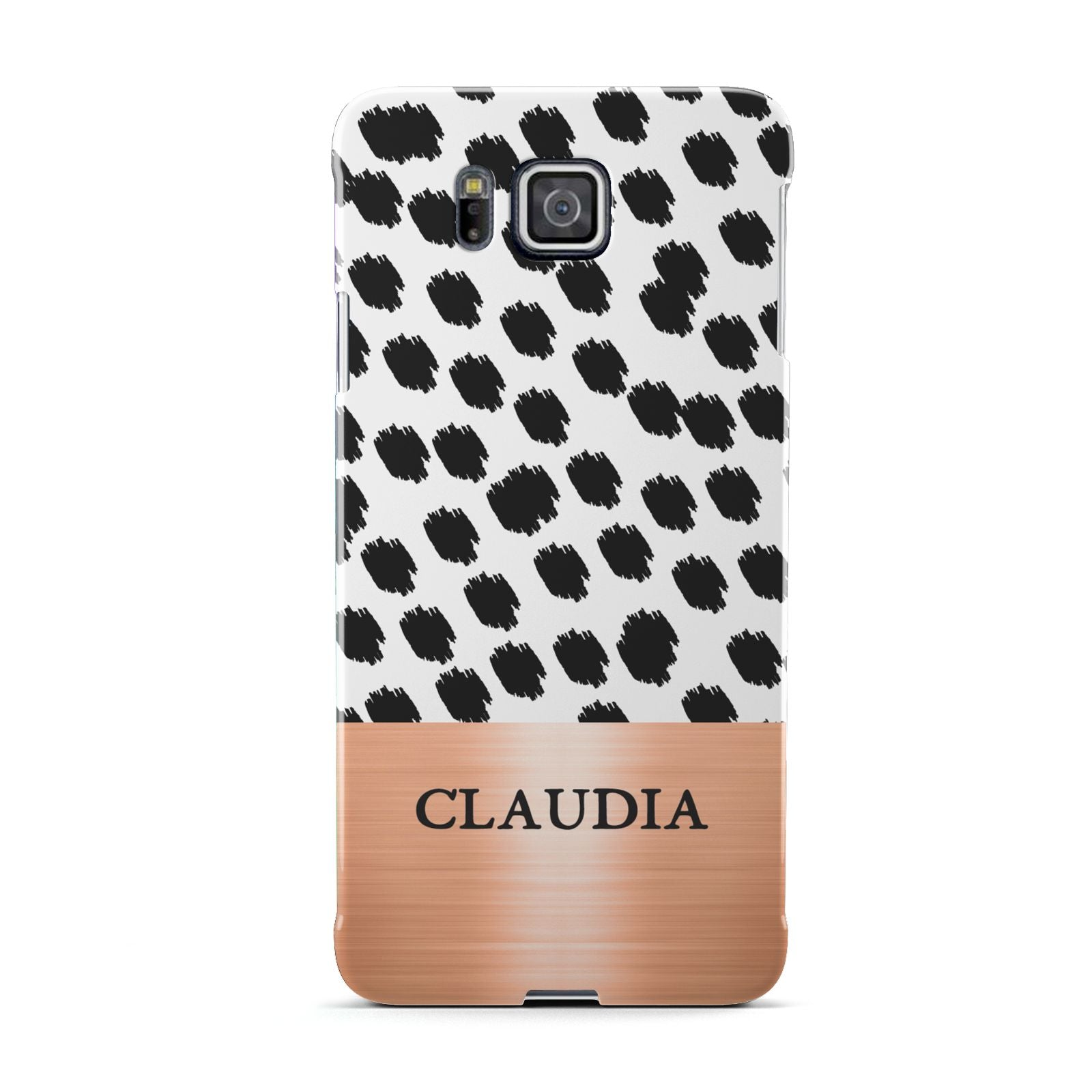 Personalised Animal Print Rose Gold Name Samsung Galaxy Alpha Case