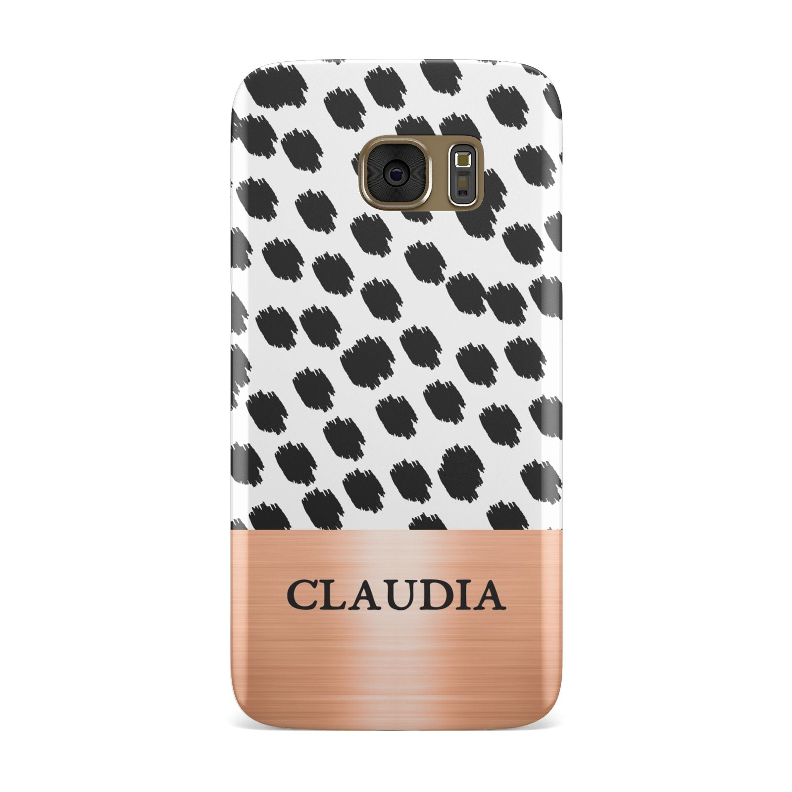 Personalised Animal Print Rose Gold Name Samsung Galaxy Case
