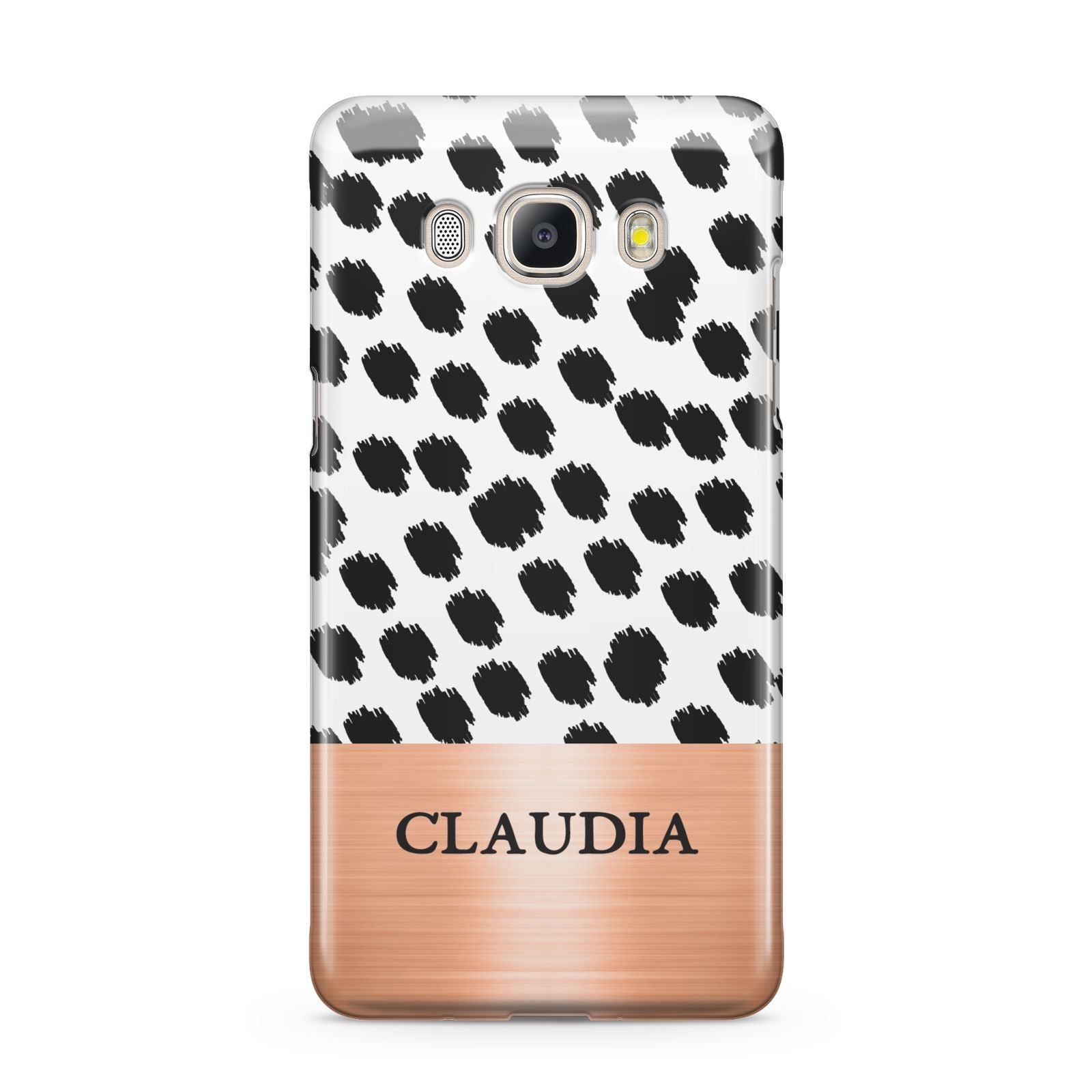 Personalised Animal Print Rose Gold Name Samsung Galaxy J5 2016 Case